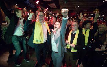 Richard de Mos van Groep de Mos tijdens de uitslagenavond van de gemeenteraadsverkiezingen. Foto ANP