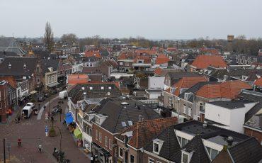 Rijnstraat uitzicht Bonaventurakerk Woerden