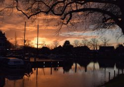 Haven lucht wolken zonsondergang